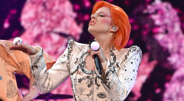 Lady Gaga performing her tribute to the late David Bowie at the awards