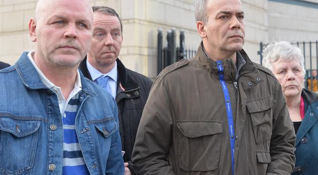 Republicans Colin Duffy (right) and Alex McCrory (left) leave Laganside courts yesterday