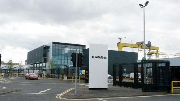 The entrance to the Bombardier site in Belfast