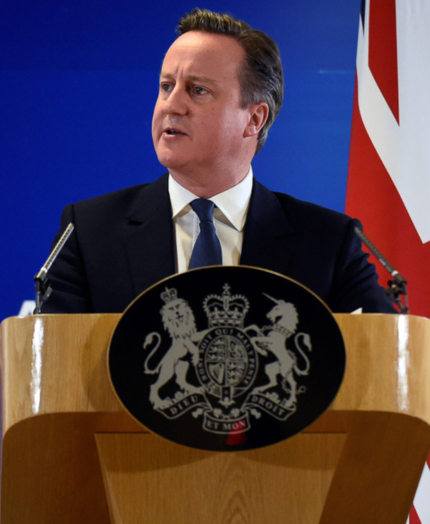 David Cameron delivers a Press conference at a European Union summit in Brussels last night