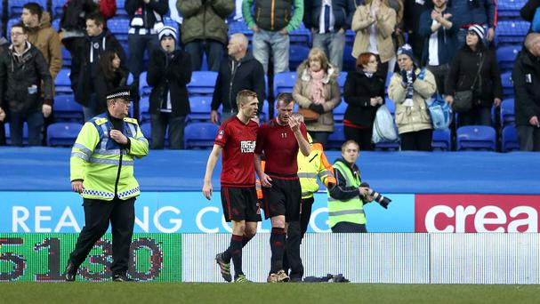 West Bromwich Albion's Chris Brunt, centre, after the final whistle at Madejski Stadium, Reading