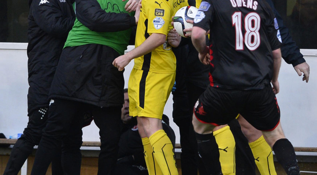 Trouble flares between the players of Crusaders and Cliftonville during their game on Saturday