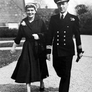 Captain Brown with his wife Lynn Macrory in Lossiemouth in 1954