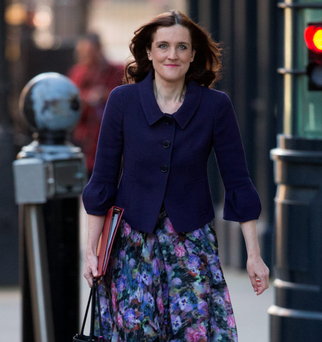 Theresa Villiers arrives for a cabinet meeting at 10 Downing Street yesterday
