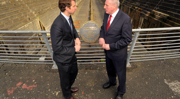 Will Straw (left) and Labour's Vernon Coaker, the shadow secretary of state, at Titanic Quarter yesterday