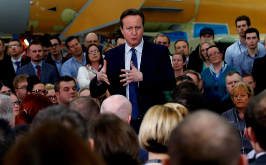 Prime Minister David Cameron during a question and answer session with employees at BAE Systems in Preston yesterday