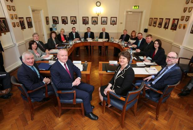 The First and Deputy First Minister with ministers and senior civil servants in Enniskillen