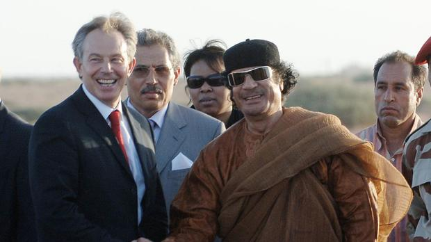 Tony Blair has spoken about Muammar Gaddafi's links to the IRA