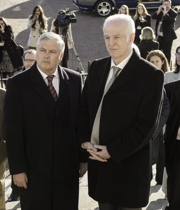 Actors Conleth Hill (left) as Press officer Johnny Rafferty and Sean McGinley as Francis Gilroy