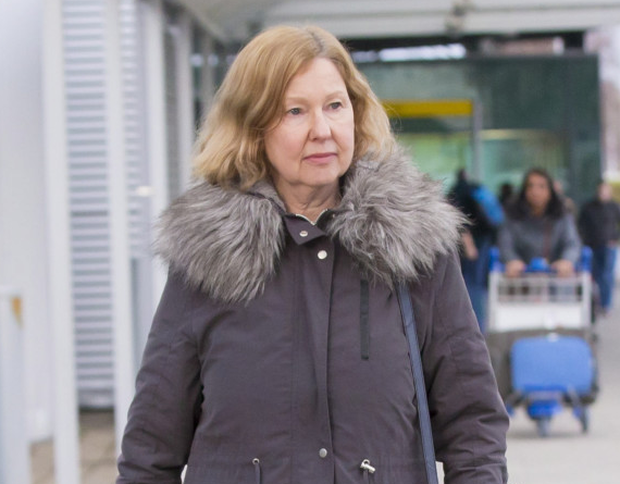 Geraldine Ferguson, mother of Patrick Azimkar at Belfast City Airport yesterday