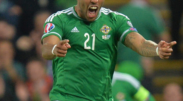 Josh Magennis playing for Northern Ireland