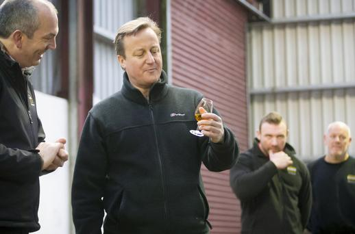 David Cameron sampling a glass of Bushmills whiskey at the Co Antrim distillery at the weekend