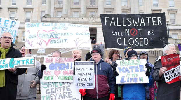 A protest at Parliament Buildings yesterday over planned cuts by the Assembly to day centres across the Belfast Health Trust