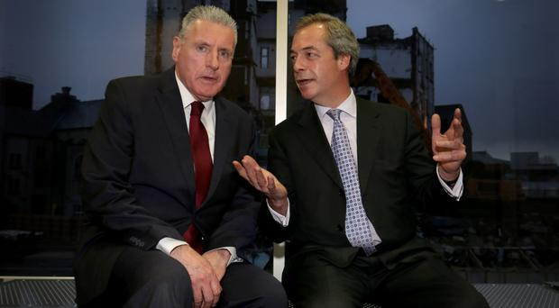 Ukip leader Nigel Farage and shadow NI secretary Vernon Coaker debate the Brexit in Belfast yesterday