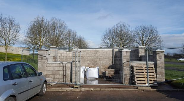 The illegal memorial in the Lurgantarry area of Lurgan is currently under construction