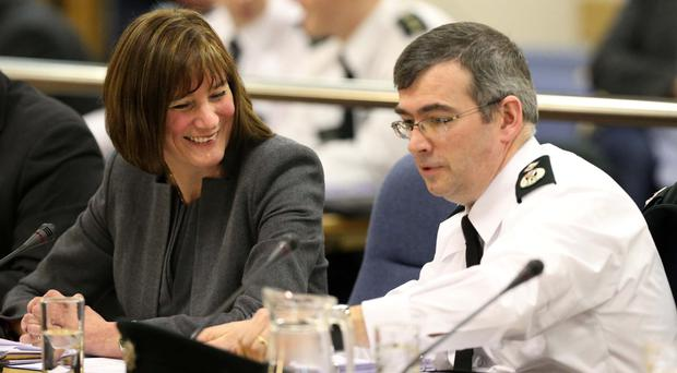 National Crime Agency director-general Lynne Owens with Deputy Chief Constable Drew Harris at yesterday's Policing Board meeting