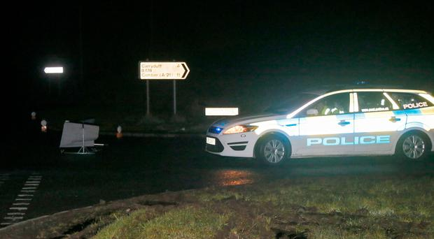 The scene of a crash near Comber last night