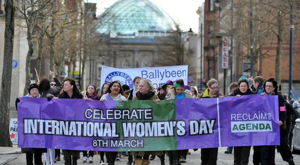Hundreds of marchers took to the streets of Belfast yesterday to celebrate International Women's Day 2016