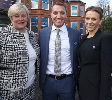Heather Weir of NI Hospice with Brendan Rodgers and his fiancee Charlotte Searle