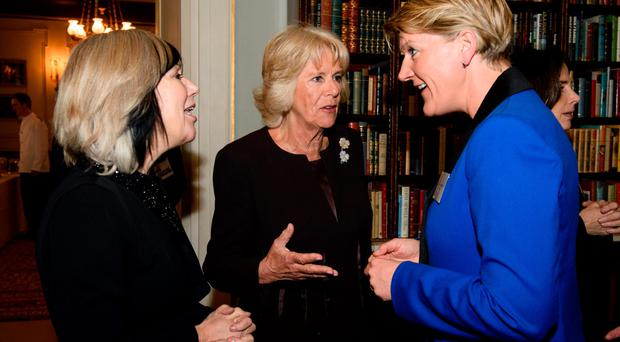 Camilla, the Duchess of Cornwall and president of WOW, with Jude Kelly (left), founder of WOW and presenter Clare Balding (right)