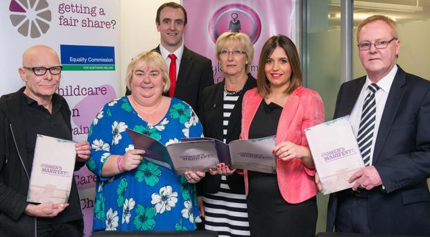 Mark H Durkan (back) at the launch of the Women's Manifesto for the 2016 Northern Ireland Assembly elections