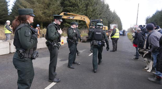 Police at Woodburn Forest in Co Antrim