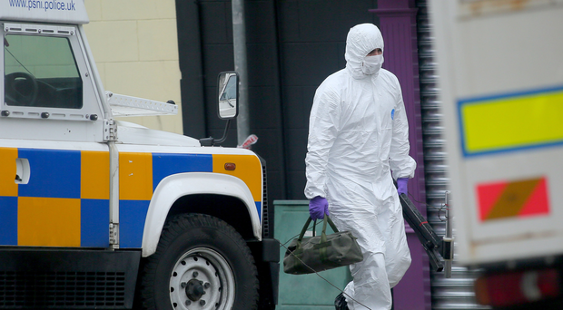 Police and ATO at the scene of a security alert on Cathedral Road in Armagh yesterday