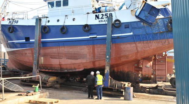 The fishing trawler 'Atlantic' which got into difficulty yesterday