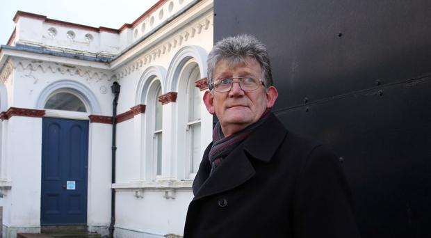 Jon McCourt at Banbridge court house in County Down for the independent Historical Institutional Abuse (HIA) Inquiry