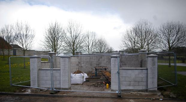 The memorial for the 1916 Easter Rising under construction in the Lurgantarry estate