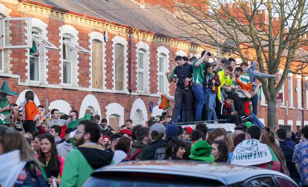 Students celebrate St Patrick's Day in the Holylands yesterday