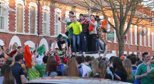 Revellers on St Patrick's Day