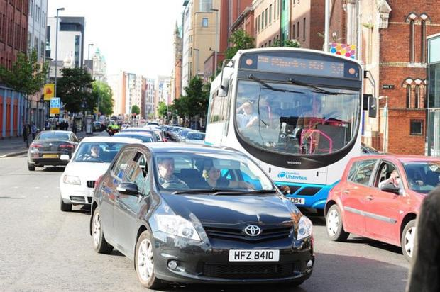 Heavy traffic at Great Victoria Street in Belfast