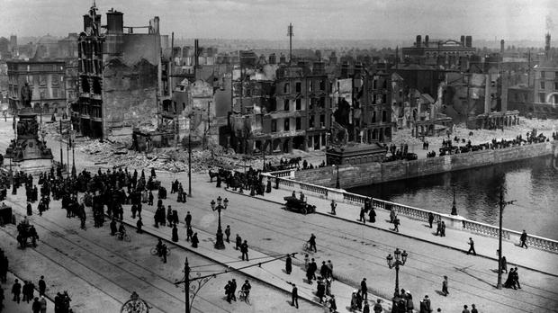 A view of Sackville Street (O'Connell St) and the River Liffey at Eden Quay showing the devastation wrought in the Easter Rising