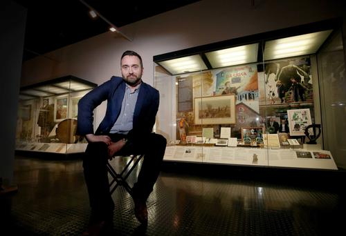 William Blair, National Museums Northern Ireland's Head of History, in the Ulster Museum's new exhibition Remembering 1916: Your Stories