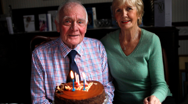 Eddie at home with his wife Irene