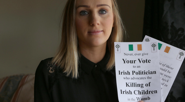 Campaigner Catherine Sewell with some of the anti-abortion leaflets yesterday