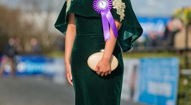 Winner of the Carton House most stylish lady, Emma Hanratty from Crossmaglen in her winning outfit
