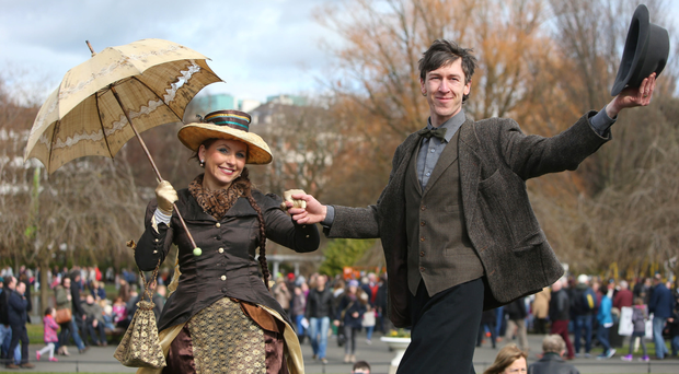 Performers Master Blazer and Madam Bloomer in St Stephen's Green, Dublin as part of RTE's Reflecting the Rising celebrations