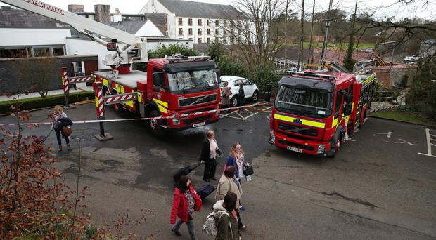 Guests evacuate the Galgorm complex as fire crews move in