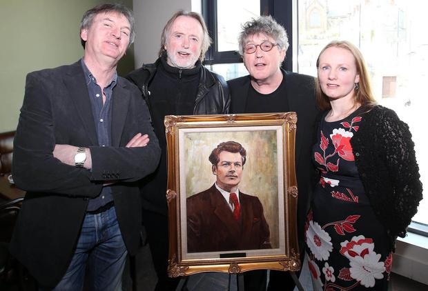 Jim Lockhart and Barry Devlin from Horslips, poet Paul Muldoon and writer Martina Devlin at the launch of the John O'Connor Winter School at Uluru Restaurant, Armagh, yesterday