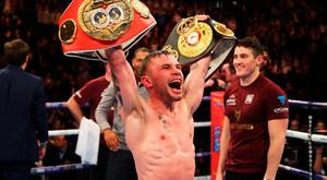 Carl Frampton celebrates after his fight title fight win over Scott Quigg
