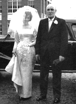 Joy Bingham on her wedding day with her father William, who died alongside her mum and sister in IRA attack