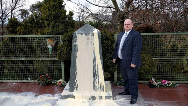Ian McCrea condemned the defacing of the memorial