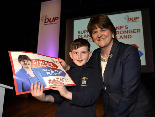 DUP leader Arlene Foster launches her party's manifesto for the Assembly election with her son Ben