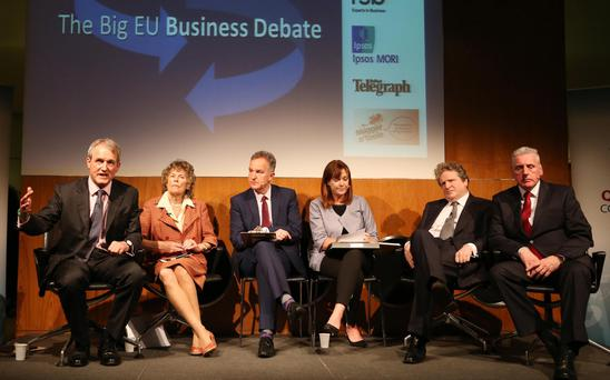 Speakers at the Big EU Business Debate at the Northern Ireland Science Park with chairs Jeffrey Peel, managing director of Quadriga Consulting Ltd, and Angela McGowan, chief economist of Danske Bank