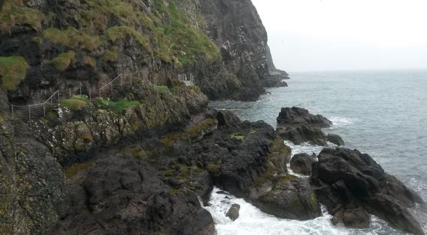 The Gobbins clifftop path was forced to close because of storm damage and a landslide in January