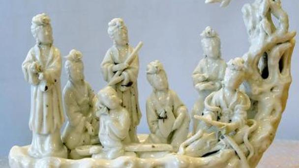 A Chinese Dehua porcelain figurine of seven fairies in a boat, one of two items stolen from Durham University's Oriental Museum (Durham Police)