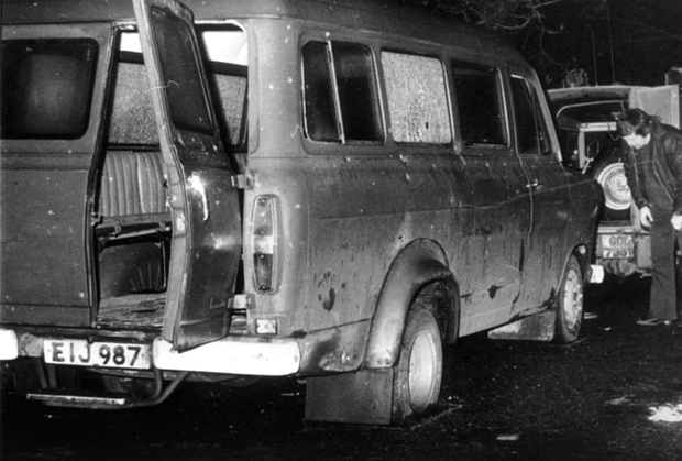 The bullet-riddled van in which the workers were travelling