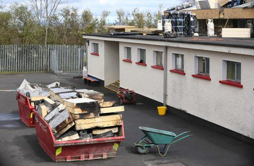 The blaze began on the roof of the primary school